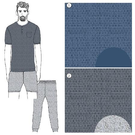 9967002de924 Diadora Pigiama Uomo 3 Pezzi Mezza Manica Pantalone Lungo e Corto in Cotone  Art 60024 Pigiami ...